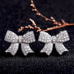 Micro-Pave Bow Stud Earrings